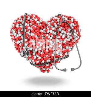 Herz-Pillen Stethoskop, 3D Rendern von Medizin-Kapseln bilden Herz mit Stethoskop umwickelt - Stockfoto