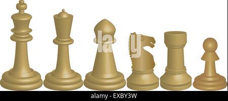 Ein Vektorbild von White Schach Stücke König Königin Bischof Ritter Turm und Bauer isoliert auf weiss - Stockfoto