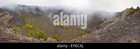 Volcan San Antonio in Canarias Kanaren Krater mit Nebel, Nebel, Pinien La Palma fuencaliente - Stockfoto