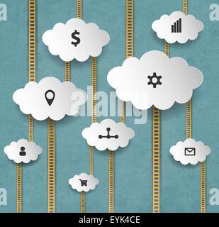 Abstrakte Internet-Marketing-Hintergrund mit Wolken und Treppen - Stockfoto