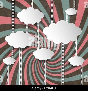 Vintage-Hintergrund mit Wolken und Leitern - Stockfoto