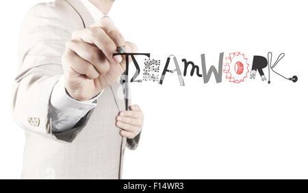 Geschäftsmann Handzeichnung Design Grafik Wort Teamarbeit als Konzept - Stockfoto