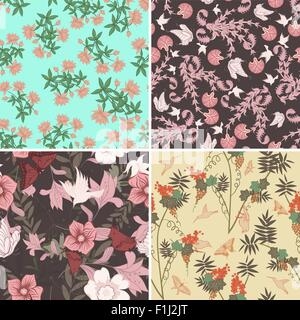 Floral nahtlose Vektor-Muster-Set.  Elegantes Design mit schönen Blumen, Schmetterlinge und Vögel auf farbigem Hintergrund. - Stockfoto