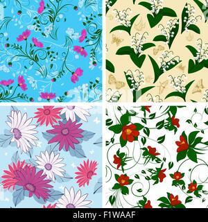 Floral Seamless Pattern Set. Elegantes Design mit schönen Blumen, Schmetterlinge und Vögel auf farbigem Hintergrund. - Stockfoto