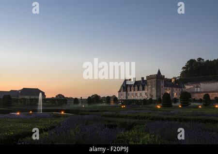 Frankreich, Indre et Loire, Loire-Tal, Weltkulturerbe von UNESCO, Schloss und Gärten Villandry, erbaut im 16. Jahrhundert - Stockfoto