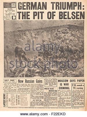 1945 zurück daily Mirror Seite Berichterstattung Befreiung des KZ Bergen-Belsen - Stockfoto
