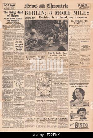 1945 News Chronicle Titelseite Berichterstattung der Befreiung des KZ Bergen-Belsen - Stockfoto