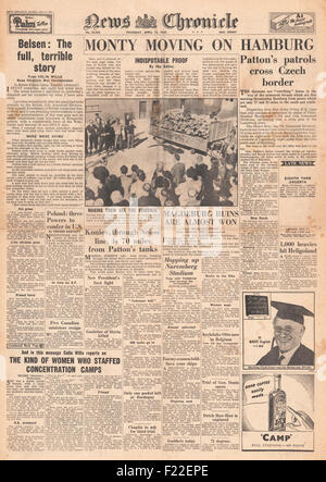 1945 News Chronicle zurück Seite Berichterstattung KZ Bergen-Belsen - Stockfoto