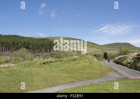 Touristen-paar zu Fuß entlang der Straße in der Nähe von Nadelbaum Plantage in hochgelegenen Lebensraum, Merthyr - Stockfoto