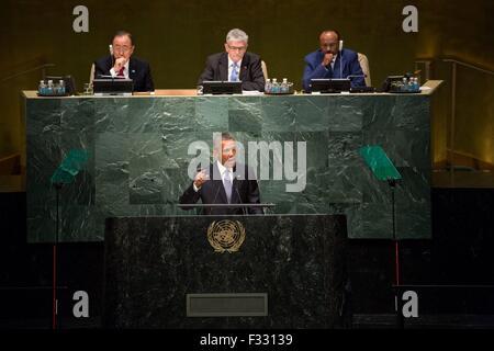 New York, USA. 28. Sep, 2015. US-Präsident Barack Obama richtet sich der 70. Tagung der Generalversammlung der Vereinten - Stockfoto