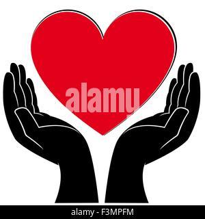 Menschliche Hände halten ein Herz, medizinische und Freiwilligenarbeit konzeptionelle Vektor-illustration - Stockfoto