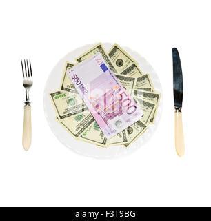 Geld auf Platte isoliert auf weißem Hintergrund - Stockfoto