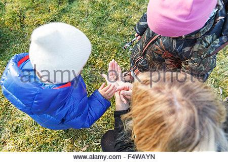 Schweden, Sodermanland, Jarna, jungen (12-17 Monate) und Mädchen (2-3) spielt mit Mutter - Stockfoto