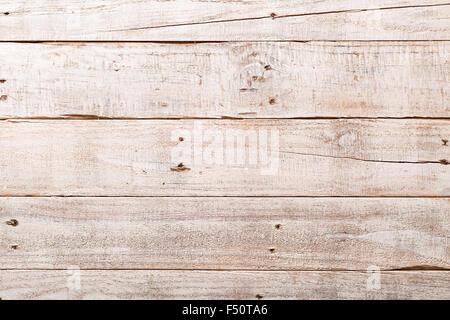 Weiße Holz rustikal Hintergrund mit Planken und Nägeln - Stockfoto