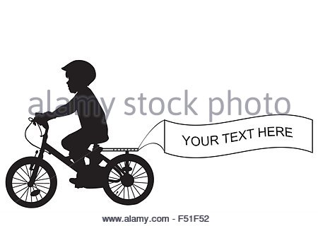 Kind-Silhouette mit dem Fahrrad und hält eine Fahne mit Platz für Beispieltext - Stockfoto