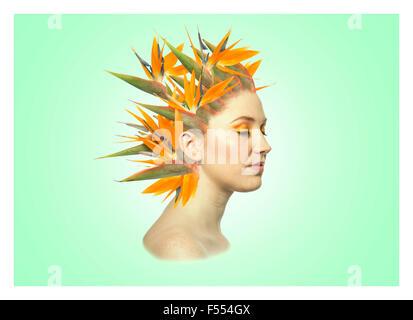 Grüne Blumen Porträt - Stockfoto