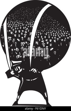 Holzschnitt-Stil Bild der Mann, der eine Welt voller Flüchtlinge und Einwanderer auf seinem Rücken trägt. - Stockfoto