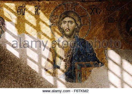 Hagia Sophia, Istanbul. Die Deesis Mosaik stammt aus 1261. Zentrale Figur des Christus. Imperial Gehäuse in den - Stockfoto