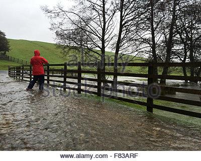 Holwick, Middleton-in-Teesdale, Co Durham, Großbritannien. 5. Dezember 2015 Herrin nimmt vorsichtig ein Foto bei - Stockfoto
