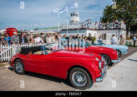 Die classic car Tempo Autos für das nächste Rennen auf dem Goodwood Revival 2015 bereit. Jaguar Mk 1 Nächste, Mk - Stockfoto