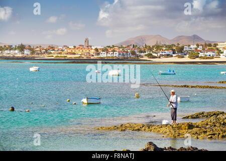 Insel Fuerteventura, Blick vom Hafen in Corralejo, Spanien, Kanarische Inseln - Stockfoto