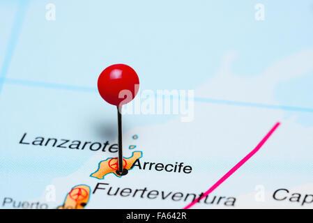 Arrecife, fixiert auf einer Karte von Afrika - Stockfoto