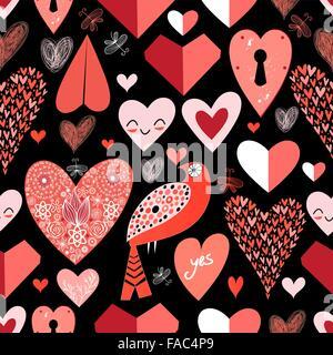 nahtlose Muster der leuchtend roten Herzen auf schwarzem Hintergrund - Stockfoto