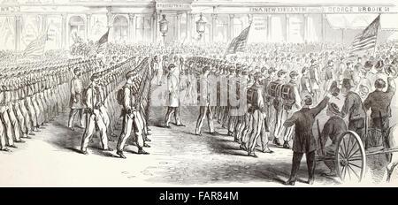 Der Weggang von Oberst Ellsworth Zuaven aus New York, 25. April 1861 in der Feuerwehr - das Regiment und vorbei - Stockfoto