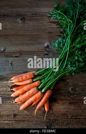 Reihe von Karotten auf einem Holztisch - Stockfoto