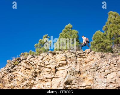 Weibliche Wanderer im Pinienwald in Bergen auf Gran Canaria, Kanarische Inseln, Spanien. - Stockfoto
