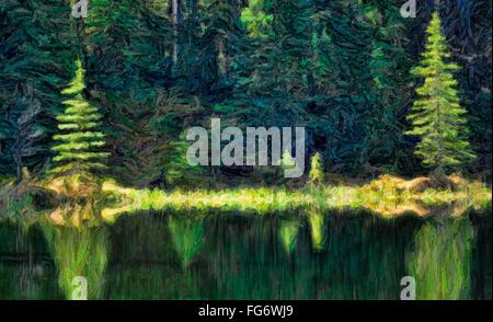 Abstrakten malerischen Duktus, Reflexion über Wasser, Jasper-Nationalpark; Alberta, Kanada - Stockfoto