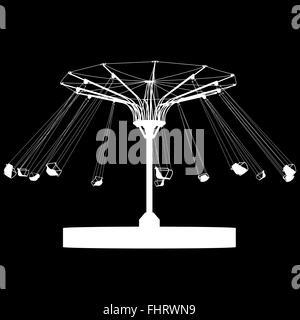 Silhouette Atraktsion bunten Riesenrad. Vektor-illustration - Stockfoto