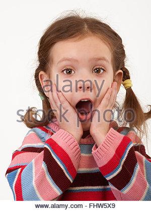 Porträt von überrascht, kleines Mädchen - Stockfoto
