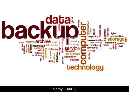 Backup-Konzept Word Cloud-Hintergrund - Stockfoto