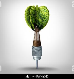 Umweltziel und Green marketing-Erfolg als eine 3D Darstellung dart mit ein Baum wächst als Zielpfeil als eine geschäftliche - Stockfoto