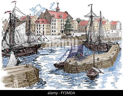 USA. New York City Hall und Docks im Jahre 1679. Kupferstich, 1920. Farbe. - Stockfoto
