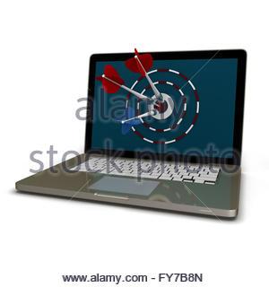 3D Laptop mit Dart und Ziel isoliert auf weiss - Stockfoto
