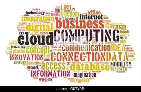Cloud-computing-Piktogramm auf weißem Hintergrund - Stockfoto