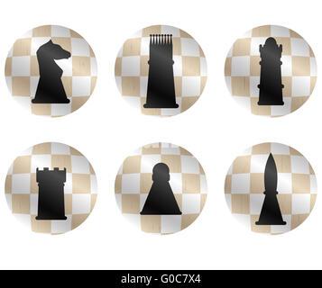 Schach-Figuren-Icon-Set. Käse-Strategie und Schachfiguren, König und spielen Schach Spiel, König und Königin, Bischof - Stockfoto