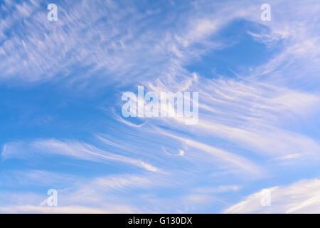 Cirruswolken gegen blauen Himmel an einem Sommertag. - Stockfoto