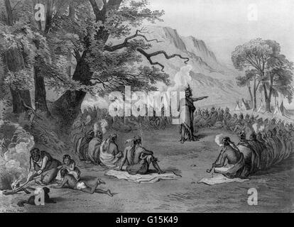 """Lithographie mit dem Titel: """"Indianerhäuptling im Rat seines Stammes von der Ankunft der fremden Schiffe (Columbus) - Stockfoto"""