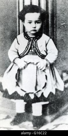 Toulouse-Lautrec fotografiert im Alter von 3. Henri de Toulouse-Lautrec (24. November 1864 - 9. September 1901) - Stockfoto
