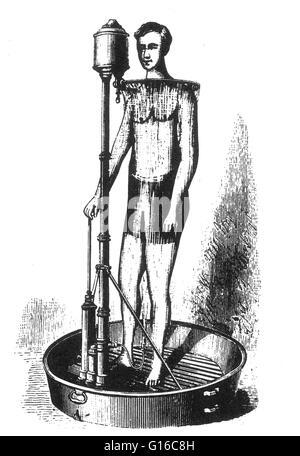 Tragbare Duschbad, 1880. Gaston Bozerian erfand ein zusammenklappbarer Duschbad, die in der Runde, flache Wanne - Stockfoto
