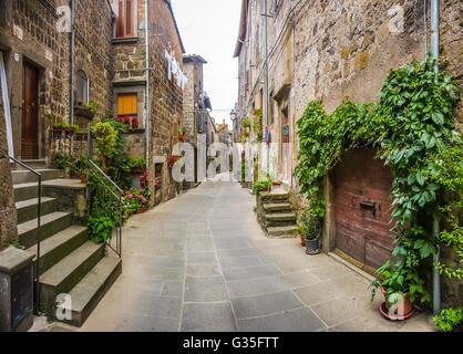 Schöne Aussicht auf alte traditionelle Häuser und idyllische Gasse in der historischen Stadt von Vitorchiano, Viterbo, - Stockfoto