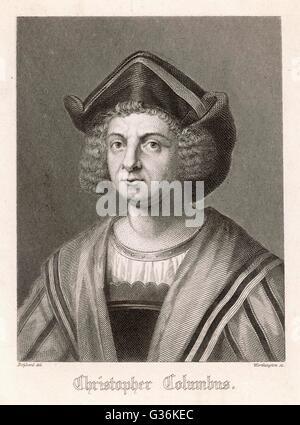 (Cristoforo) Christopher Columbus (1451-1506) italienischer Nautiker - Stockfoto