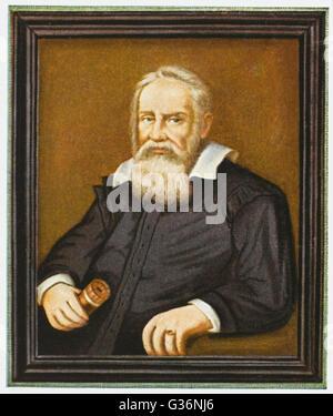 Galileo Galilei (1564-1642), italienischer Physiker, Mathematiker, Astronom und Philosoph.  Er bekam Ärger mit der - Stockfoto