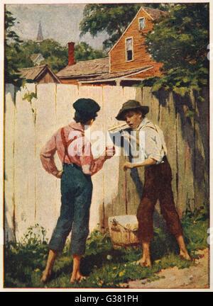 """Tom Sawyer Schönfärberei der Zaun: """"ein Junge bekommt eine Chance, einen Zaun täglich Tünche?""""      Datum: Erstveröffentlichung: - Stockfoto"""