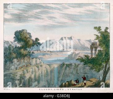 Eine felsige Landschaft mit Cirro Stratus Wolken.        Datum: 1849 - Stockfoto