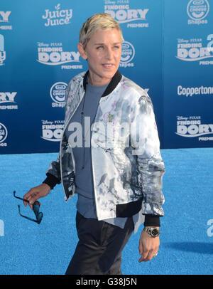 Hollywood, CA, USA. 8. Juni 2016. 8. Juni 2016 - Hollywood. Ellen DeGeneres. Anreise für die Welt Premiere des Disney - Stockfoto