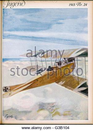 Einem deutschen Albatros-Doppeldecker auf Patrouille über den Wolken Datum: 1915 - Stockfoto